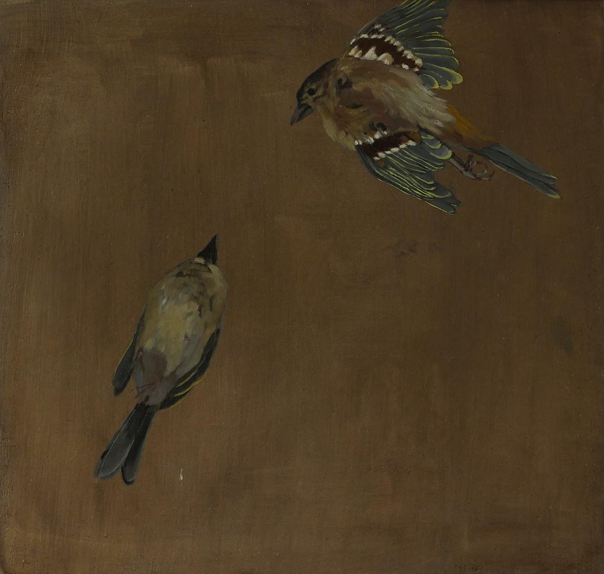 Oil painting of dead goldfinches, Greag Mac a' tSaoir